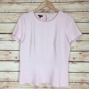 Talbots Short Sleeve Peplum Blouse Pink Textured